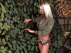Blonde military girl sucks camouflaged cock tubes