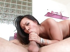 Asian snatch sits on his dick and rides it hard tubes
