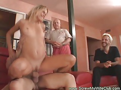 Horny housewife swings for first time tubes