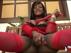 Black shemale pornstar in stockings fucks a toy tubes