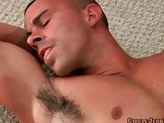 Muscular hottie masturbates big cock and cums tubes