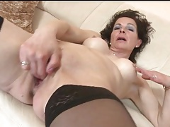 Fingering and toy fucking mature in stockings tubes