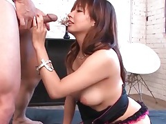 Redhead watches slutty asian get fucked in the ass tubes