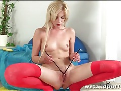 Fingers and chopsticks play with her pussy tubes