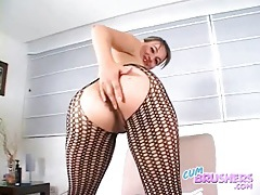 Slut in black body stocking fingered deep tubes
