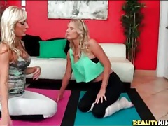 Flexible milfs in spandex get frisky during yoga tubes