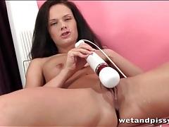 Teenager in braces masturbates and pees tubes