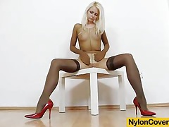 Slim blonde full in panty-hose tubes