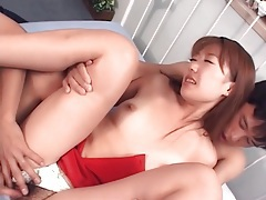 Hairy japanese pussy fingered and licked tubes