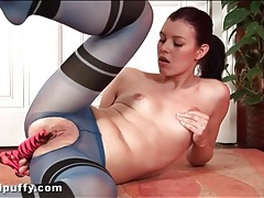 Masturbating girl in sexy blue pantyhose tubes