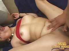Arab slut fucked and taking two facials tubes
