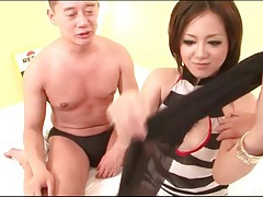 Young japanese lass gives a blowjob tubes