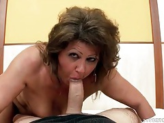 Chubby mature grinds her pussy on his dick tubes