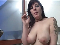 Cigarette smoking girl sucks off a cock tubes