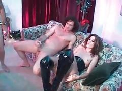 Long legged slut in latex boots ass fucked tubes