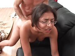 Big dick fucks cute nerdy girl in the cunt tubes