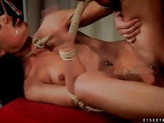 Pierced girl tied up and fucked in her hot cunt tubes