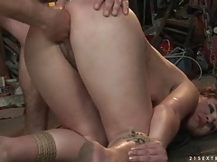 Slutty chick in bondage fucked from behind tubes