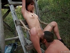 Bound girl slapped around and fucked outdoors tubes