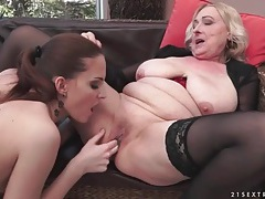 Granny and young lady finger their cunts tubes