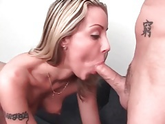 Lustily fingering a slut that sucks his dick tubes