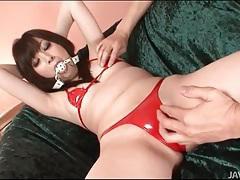 Slut in plaid skirt and stockings sucks dick tubes