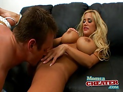 Blonde mom gives a titjob and gets fucked tubes