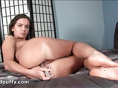 Solo girl screws her ass with a silver toy tubes