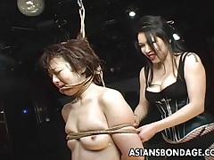 Graceful japanese domme punishes a bound slave girl tubes