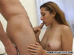 Beautiful amateur girlfriend sucks and fucks with facial tubes