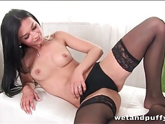 Beautiful adele mood in black stockings and heels tubes
