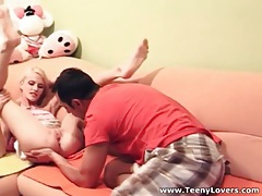 Tiny blonde blows him and has great sex tubes