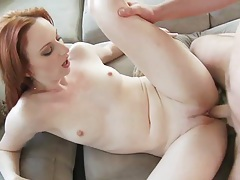 Redhead audrey splashed with cum tubes