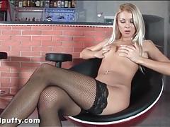 Sexy legs look tasty in black fishnet stockings tubes