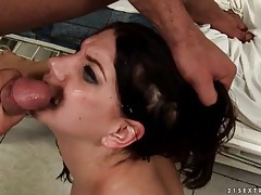 Girl tied down in bed and fucked doggystyle tubes