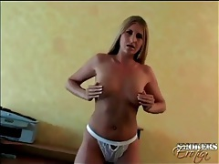 Blonde strips off white lingerie and sucks dick tubes