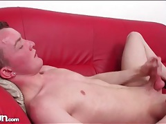 Pierced ear twink strokes his dick passionately tubes