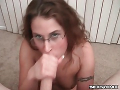 Facial on her glasses as she sucks balls tubes