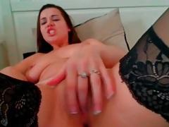 Finger fucking webcam girl in sexy stockings tubes