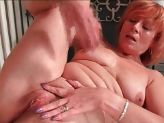 Mature redhead rubs her clit in masturbation porn tubes