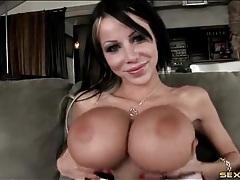 Gigantic tits slut in a corset sucks cock tubes