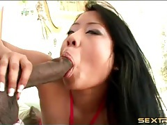 Curvy asian in slutty pink dress sucks dick tubes