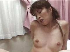 Hairy japanese cunts share double dildo tubes