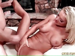 Blonde peels off her panties and gets fucked tubes