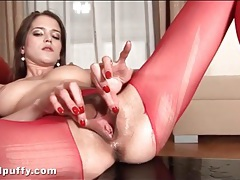 Giant dildo fucks slut in ripped red pantyhose tubes