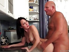 Old man dick fucks her bald young vagina tubes
