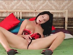 Red and black lingerie is breathtaking on a milf tubes