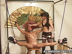 Seductive japanese mistress torments her tied up slavegirl tubes