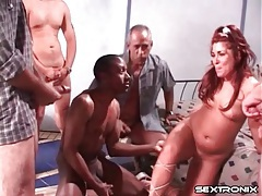 Milf blows a group of guys in a gangbang video tubes