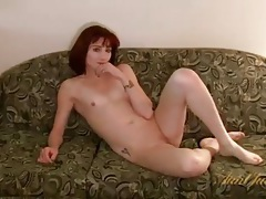 Sweater and jeans on sexy stripping milf redhead tubes